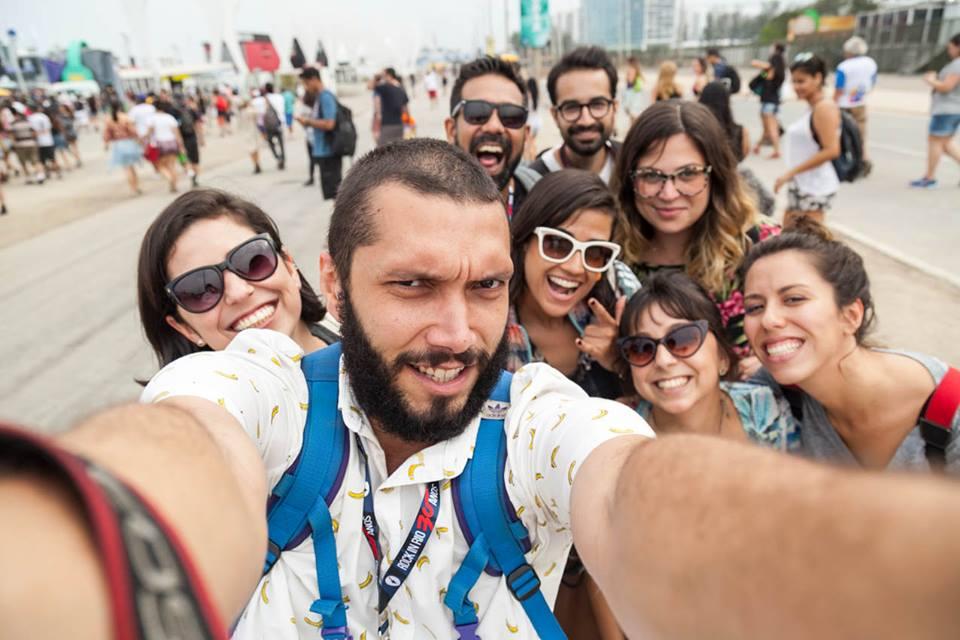 Selfie coletiva durante o Rock in Rio