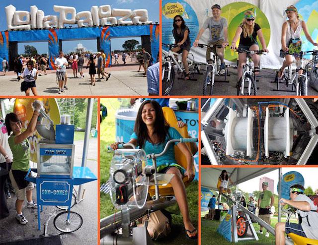 Ação esperta do Lolla Chicago. A galera gerava energia para o festival pedalando por 5 minutos e, na saída levavam sorvetes.